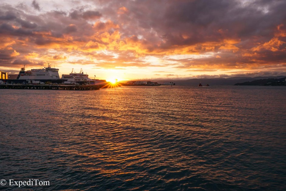 Sunrise at the ferry port in Wellington