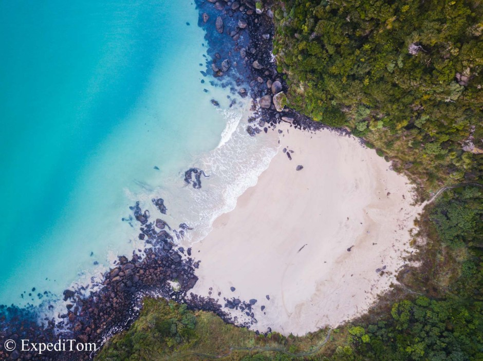 Tropical island flare on Stewart Island  aerial view