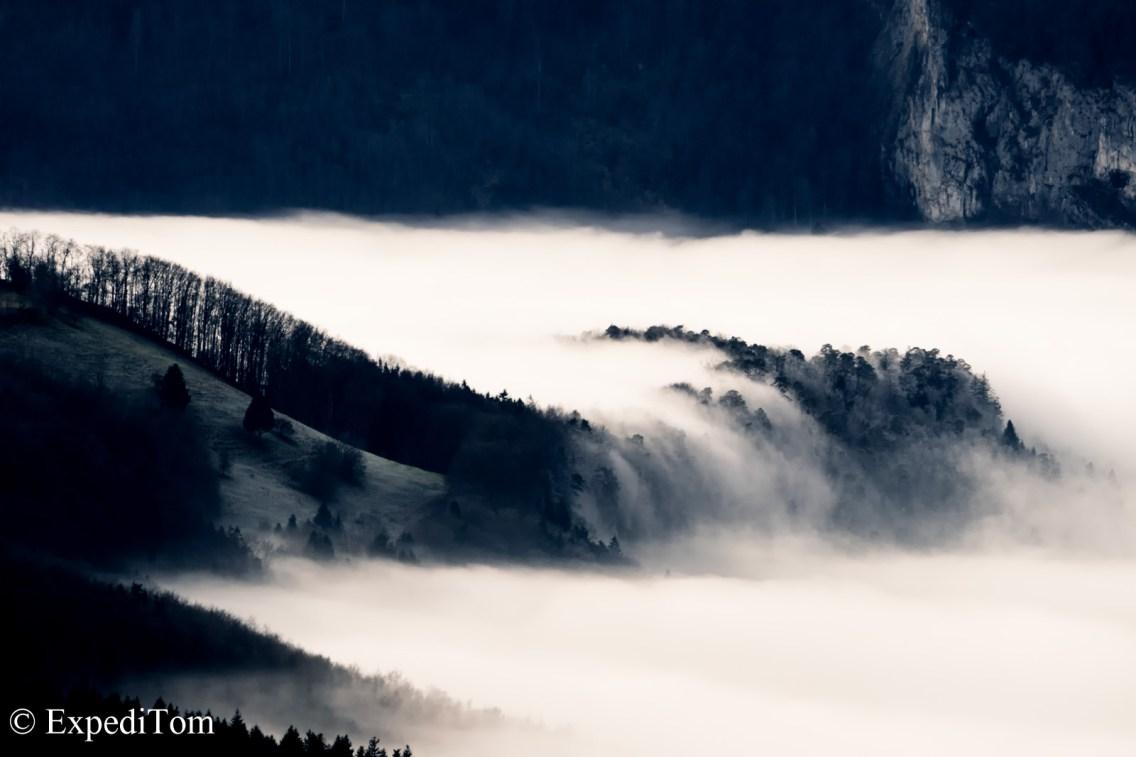 Fog waterfall Switzerland