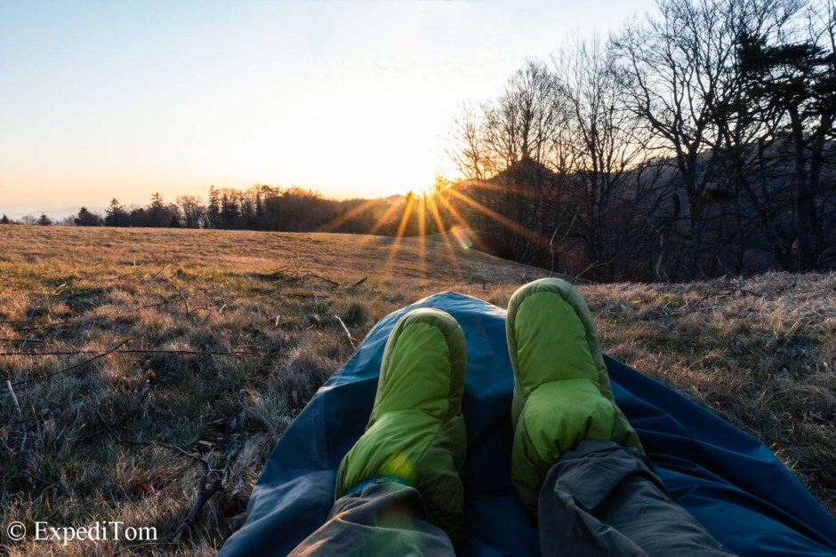 Morning views with the Exped Down Booties during a bivouac