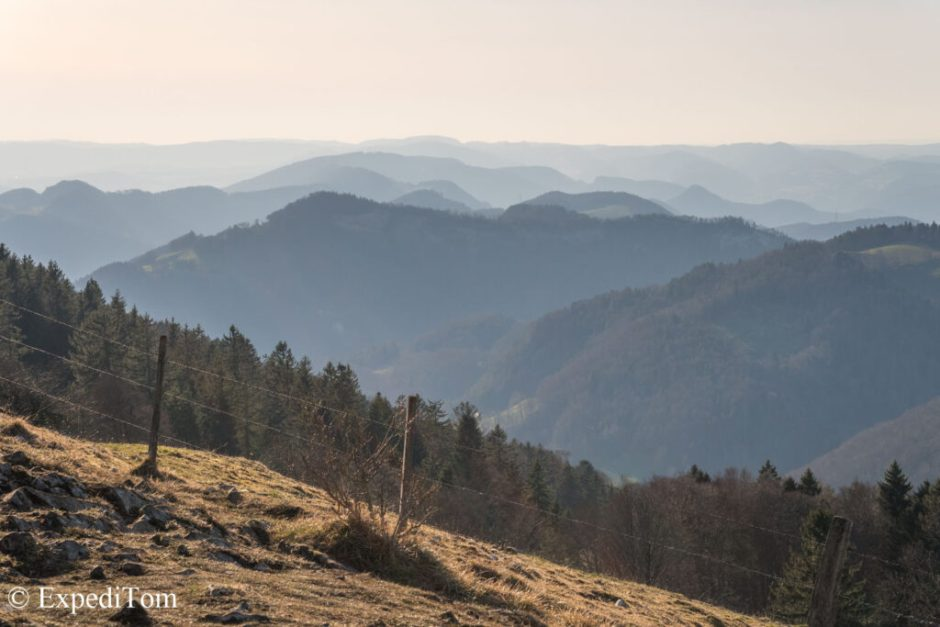 The rolling hills in the Jura mountains
