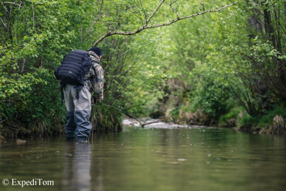 Fly fishing small creeks in Switzerland for trout