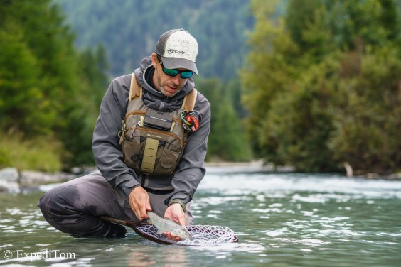 Fly fishing Swiss Alps for brown trout