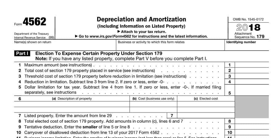 Pictured: a screenshot of an IRS Depreciation and Amortization tax form.