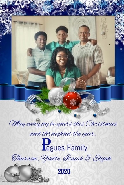 "Yvette Pegues with her family on a holiday greeting that states: ""May every joy be yours this Christmas and throughout the year."""