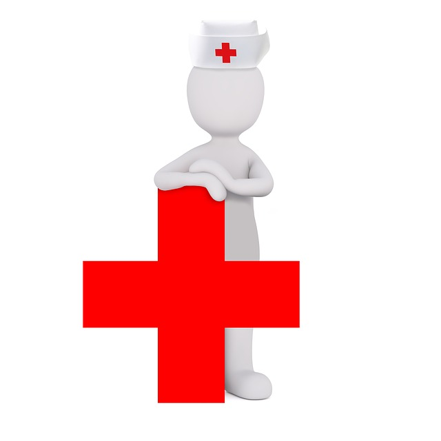 Red Cross with nurse behind it