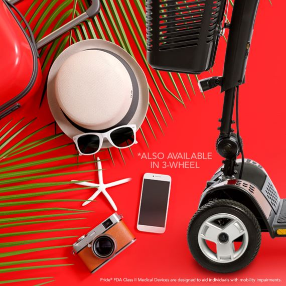 summer scene with hat, glasses, cell phone, camera, and front of scooter