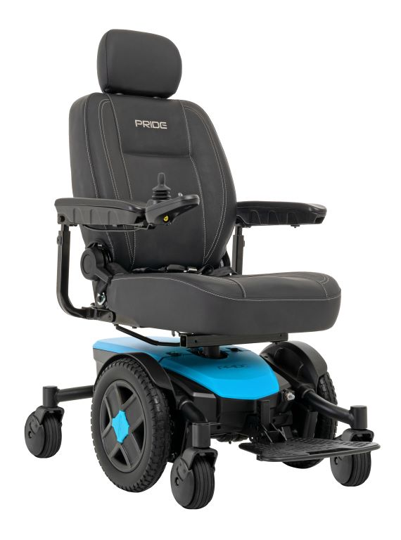 Robin's Egg Blue power wheelchair base with a black seat with white stitching on top, jazzy evo