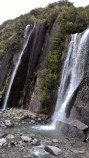 Waterfall in Franz Josef glacier valley