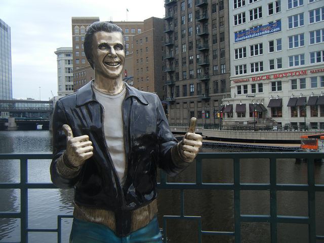 Fonz statue courtesy of daniel.baker, Flickr Creative Commons.