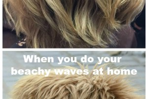 Time to laugh: Beachy waves done by the stylist vs. beachy waves I can do myself! As found on experiencedbadmom.com.