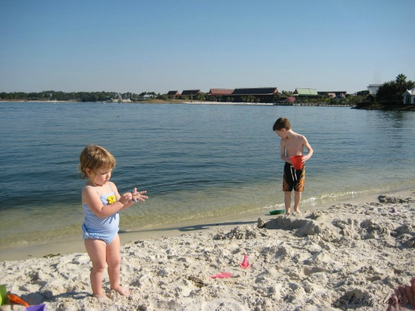 Building sand castles at the beach at The Grand Floridian at Disney World