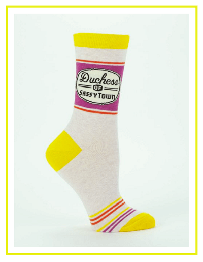 Here are some great funny gift ideas for the holidays, like these sassy socks from Blue Q.