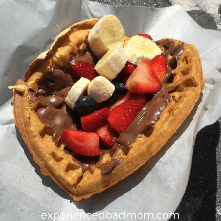 A sweet Disney World treat: the fruit and hazelnut spread waffle sandwich from Sleepy Hollow