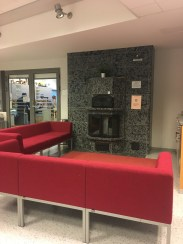 The school has a fireplace!