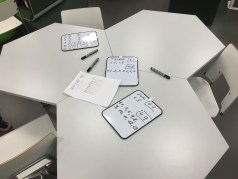 These hexagonal desks allow for many different table arrangements