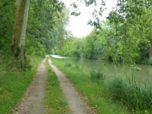 Canal near Bram, deeply rutted by recent rain