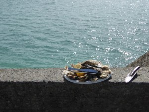 An oyster snack by the sea