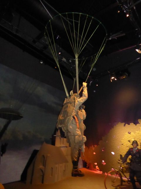 Parachuting over Sainte Mere Eglise, Operation Neptune exhibit at the Airborne Museum