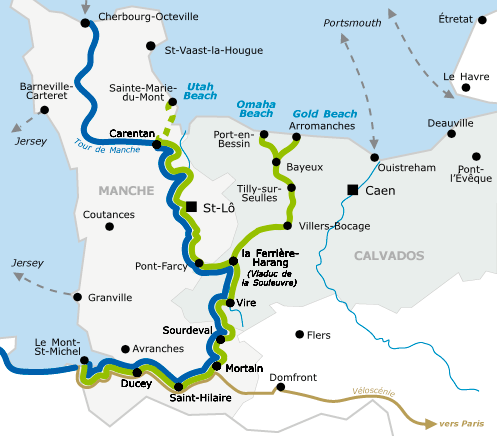 D-Day Beaches to Mont-Saint-Michel Itinerary in green