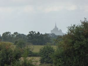 My first sighting of Mont-Saint-Michel from about 28 km away