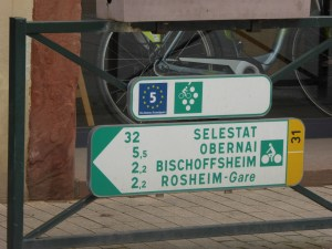 The Alsace Wine Route and EuroVelo 5 share the same paths in this part of Alsace