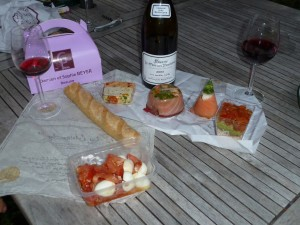 Picnic lunch in the Cote d'Beaune vineyards