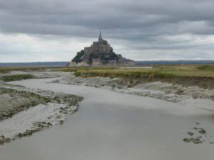 View from the car-free bike path from Pontorson to Mont-Saint-Michel