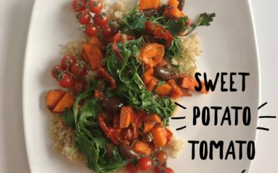 A New View of Healthy Eating: Plant-Based Recipes by Melanie Albert: Simple Sweet Potato Tomato Sauté Late Night Snack and Brunch