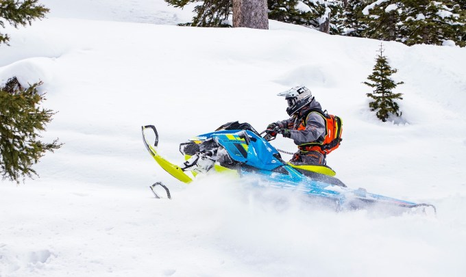 Snowmobile in deep snow