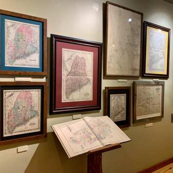 Vintage map exhibit at Outdoor Heritage Museum