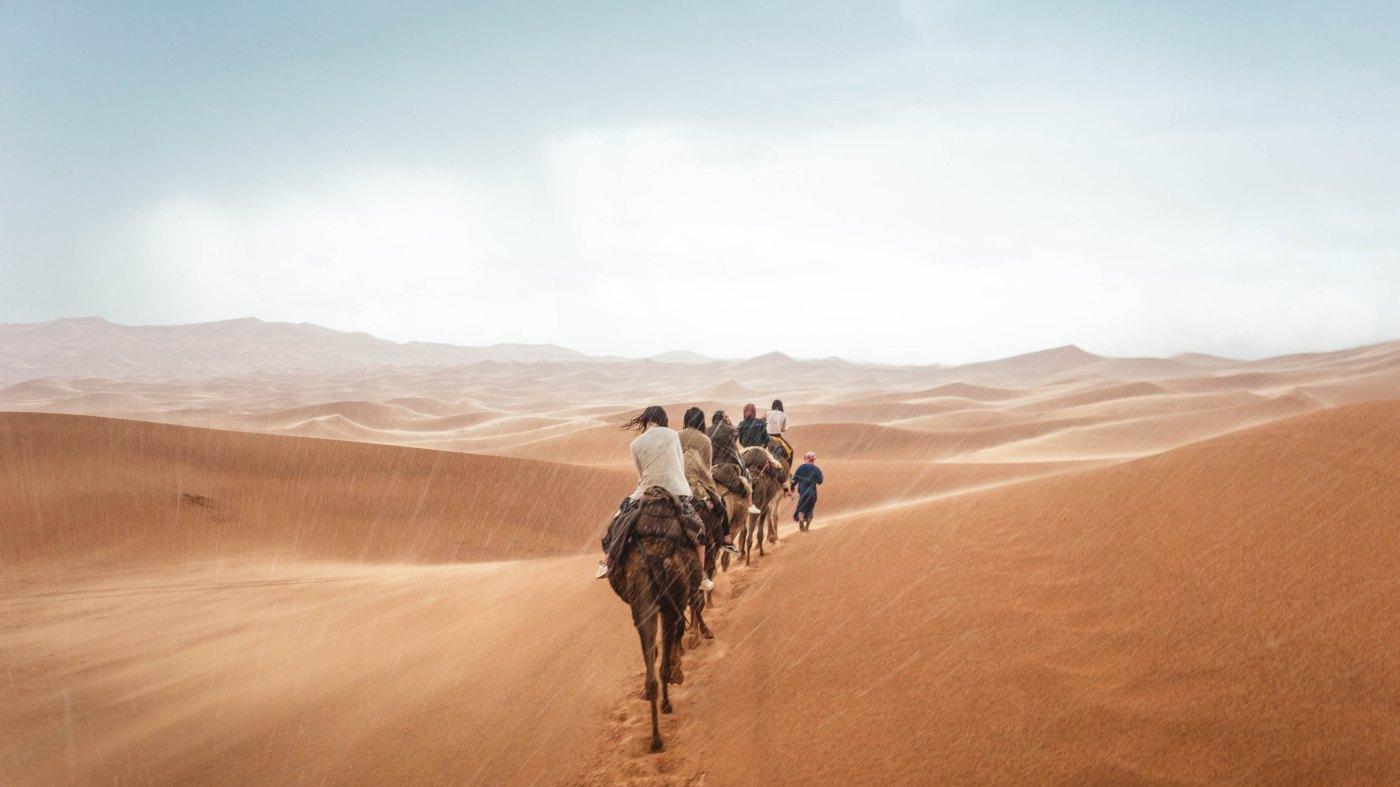 Paseo en dromedario por el desierto del Sahara en Marruecos