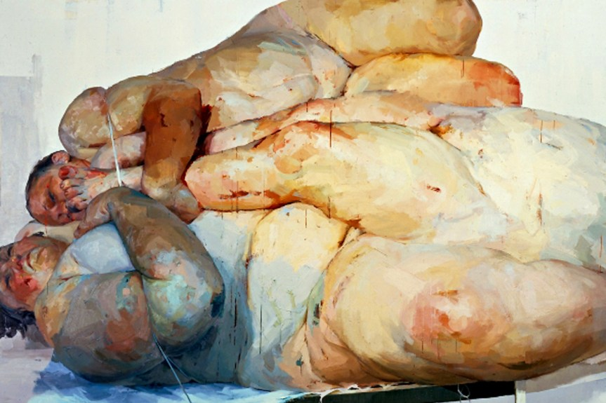 Jenny Saville Fulcrum 1999 Oil on canvas (triptych) 261.6 x 487.7 cm 103 x 193'' http://www.standard.co.uk/goingout/exhibitions/jenny-saville-for-the-love-of-rubens-9979500.html