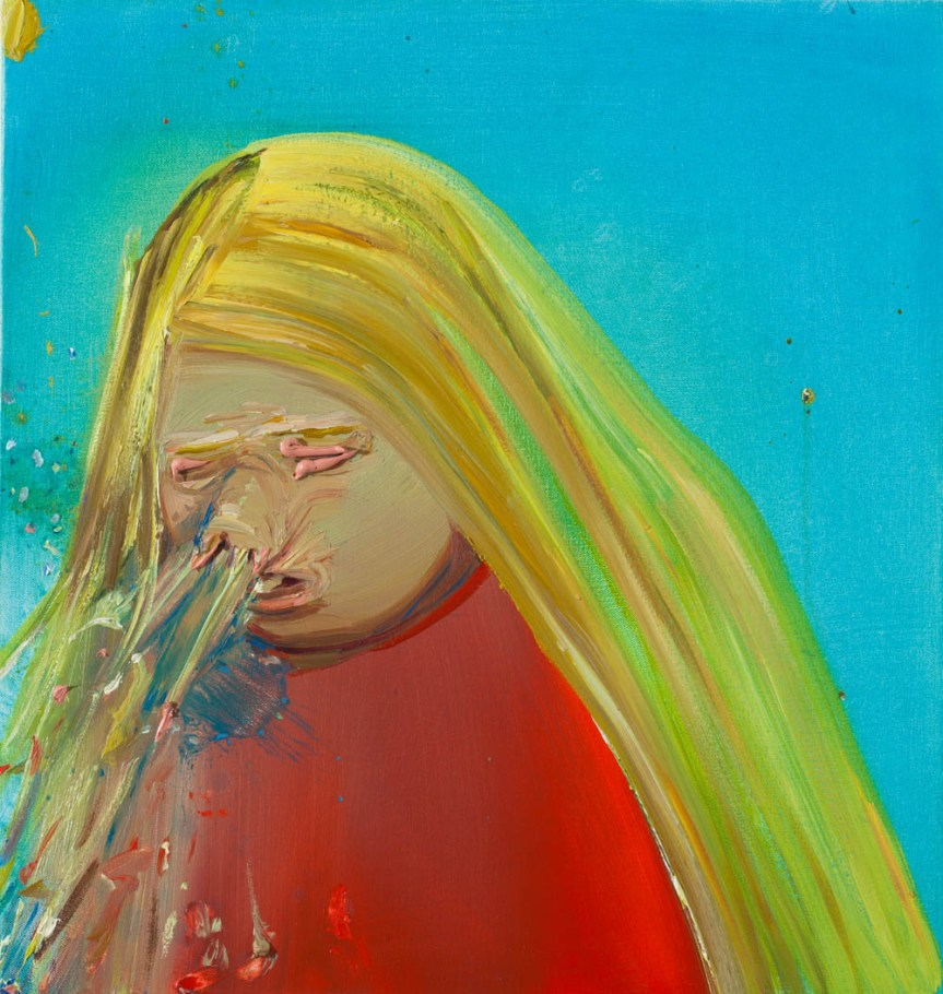 Jaclyn Conley Sneeze Oil on canvas 48.3 x 48.3 cm (19 x 19 inches) 2001 http://www.macm.org/danaschutz/wp-content/uploads/2015/10/SCH-01_00011.jpg