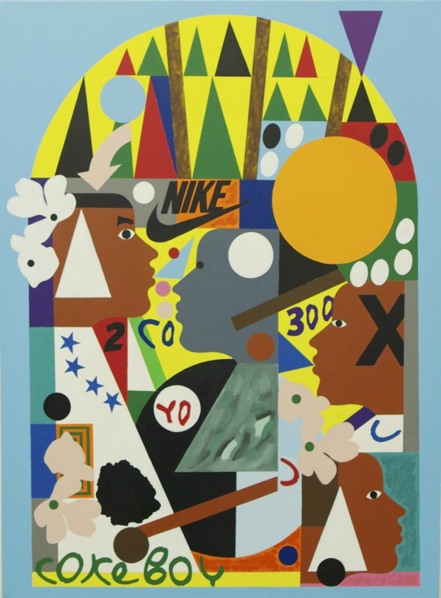 Nina Chanel Abney Let's Go Hoop Acrylic on canvas http://saintheron.com/wp-content/uploads/2013/11/lets-hoop-abney.jpg 2013