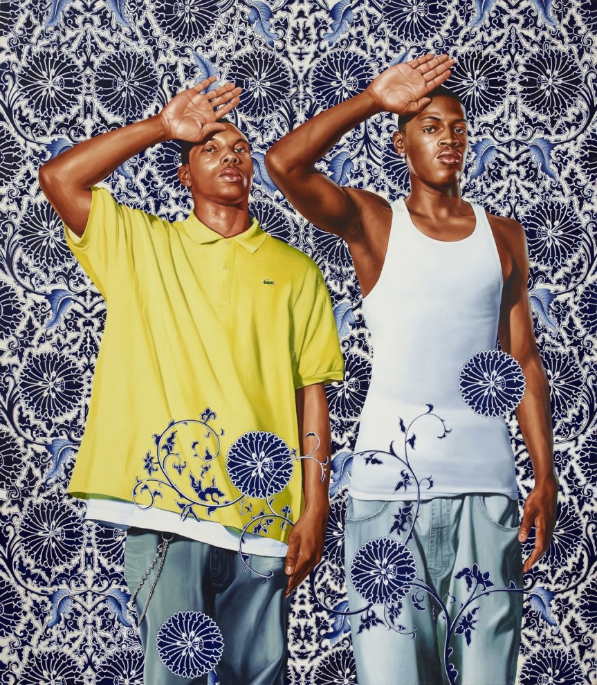 "KEHINDE WILEY, ""Two Heroic Sisters of the Grassland,"" 2011 (oil on canvas). http://www.culturetype.com/2015/02/15/new-york-times-paints-portrait-of-kehinde-wiley/"