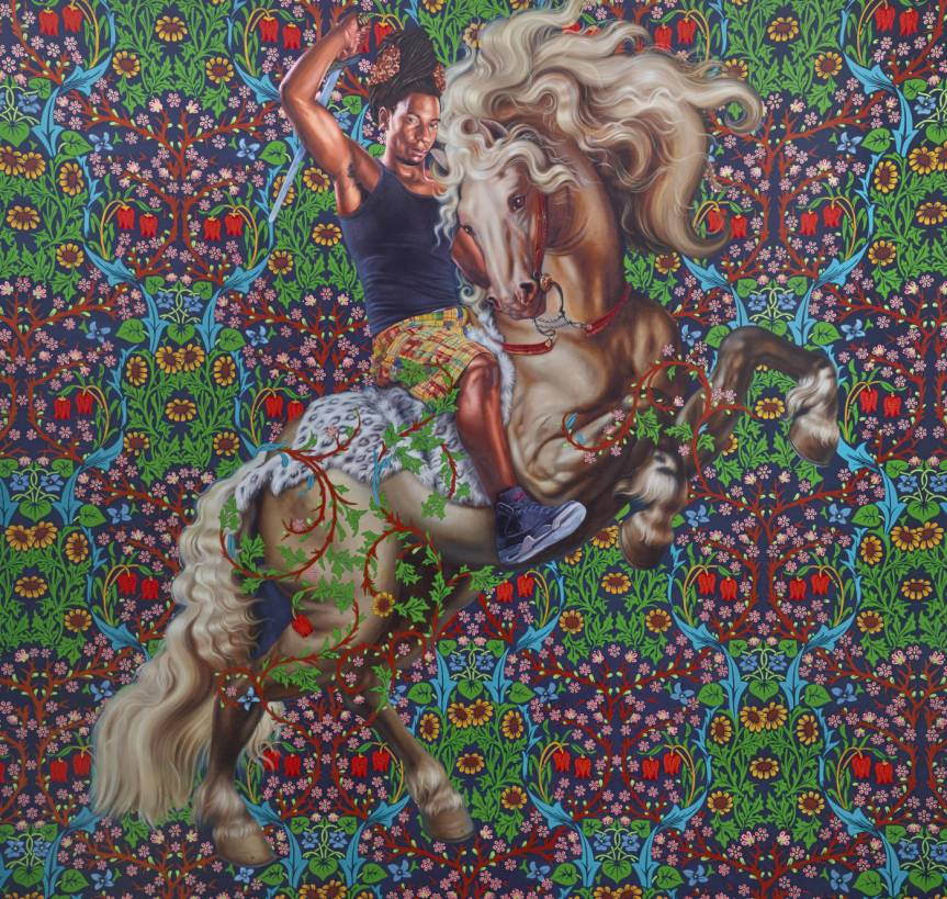Saint George and the Dragon, 2015, Kehinde Wiley, American, b. 1977, oil on canvas, 114 x 108 in. http://knkx.org/post/now-showing-seattle-art-museum-kehinde-wiley-s-personal-history-color