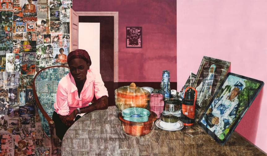 Njideka Akunyili Crosby (b. 1983), Before Now After (Mama, Mummy and Mamma), 2015. http://whitney.org/Exhibitions/NjidekaAkunyiliCrosby