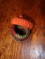 Crochet Acorn Box with Lid skewed