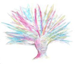 Tête de femme peinte en couleurs