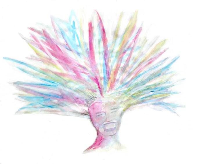 Tête de femme peinte en couleurs, qui ose briller de toutes ses couleurs