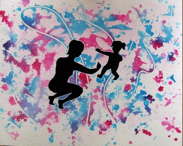 silhouettes d'adulte et d'enfant se rapprochant