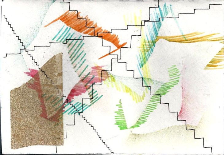 dessin avec escaliers entremêlés et feutre