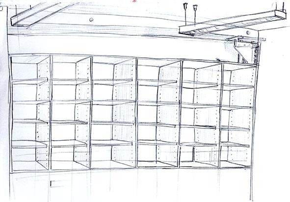étagères vides dessinées