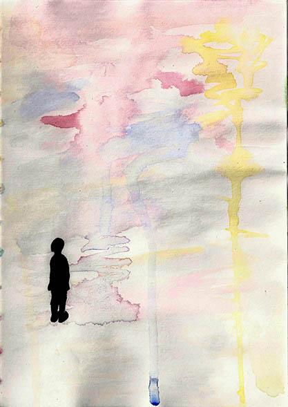 silhouette devant spectacle coloré