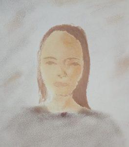 dessin de portrait en fard à paupière et rouge à lèvres