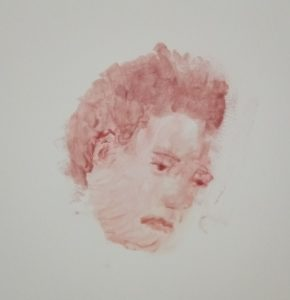 Dessin de portrait réalisé en gloss à lèvres