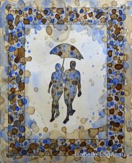 Couple sous un parapluie