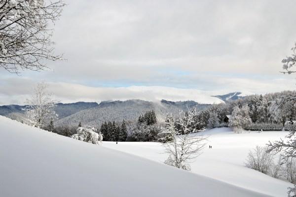 Snow, mountains, landscape