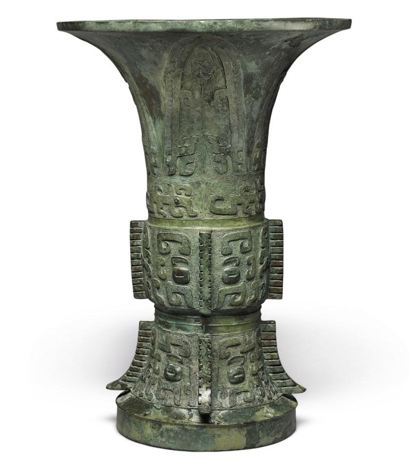 Vase rituel Zunen bronze de la dynastie Shang